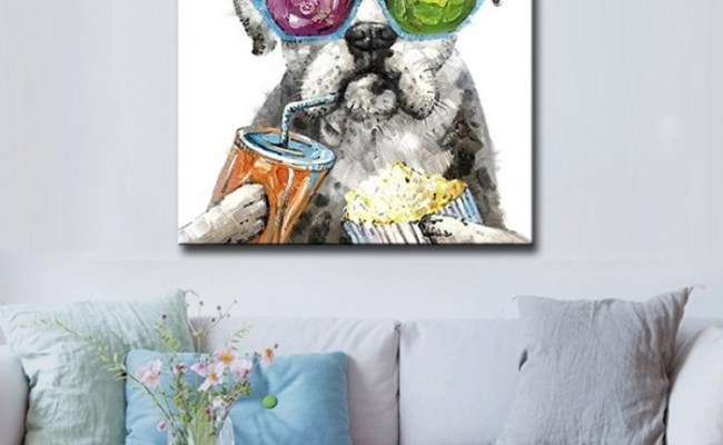 Chilling Dog Hand Painted Modern Home Decor Wall Art Oil