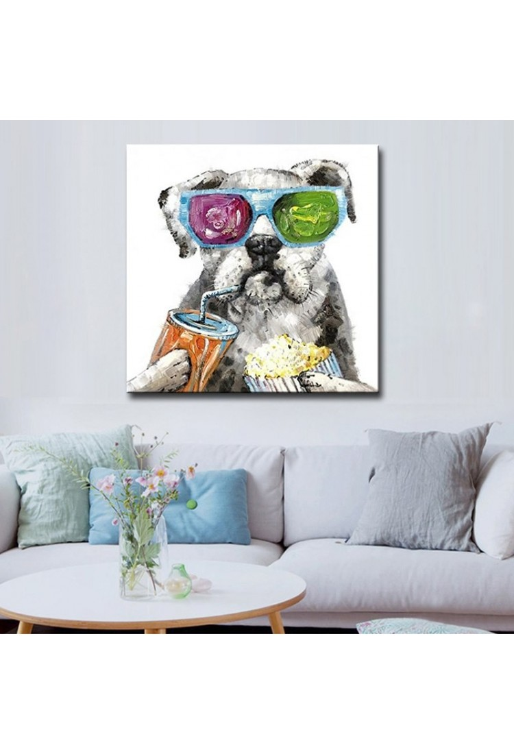 Chilling Dog - Hand-Painted Modern Home decor wall art oil ...