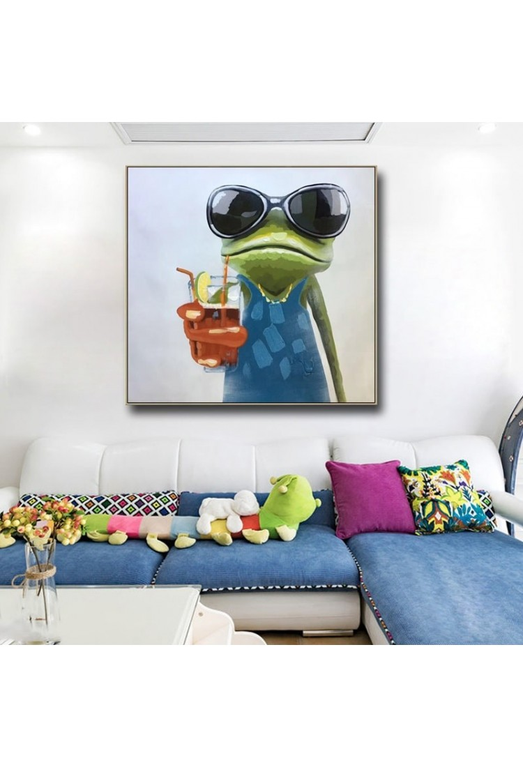 Cool Frog - Hand-Painted Modern Home decor wall art oil ...