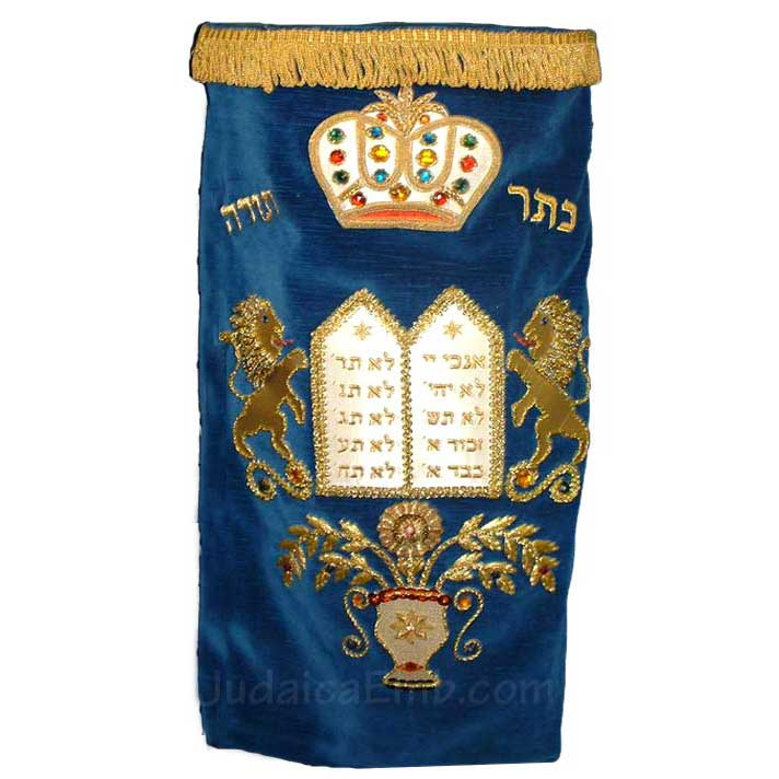 Torah Mantles  Lions and Luchos  Torah Mantle M113H