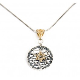 Silver and Gold Round Post-Modern Star of David Necklace