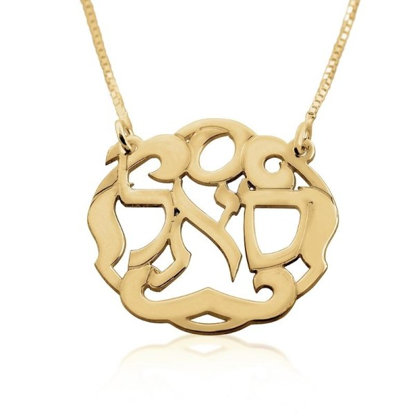 24k Gold Plated Silver Kabbalah Necklace - Wealth Jewish
