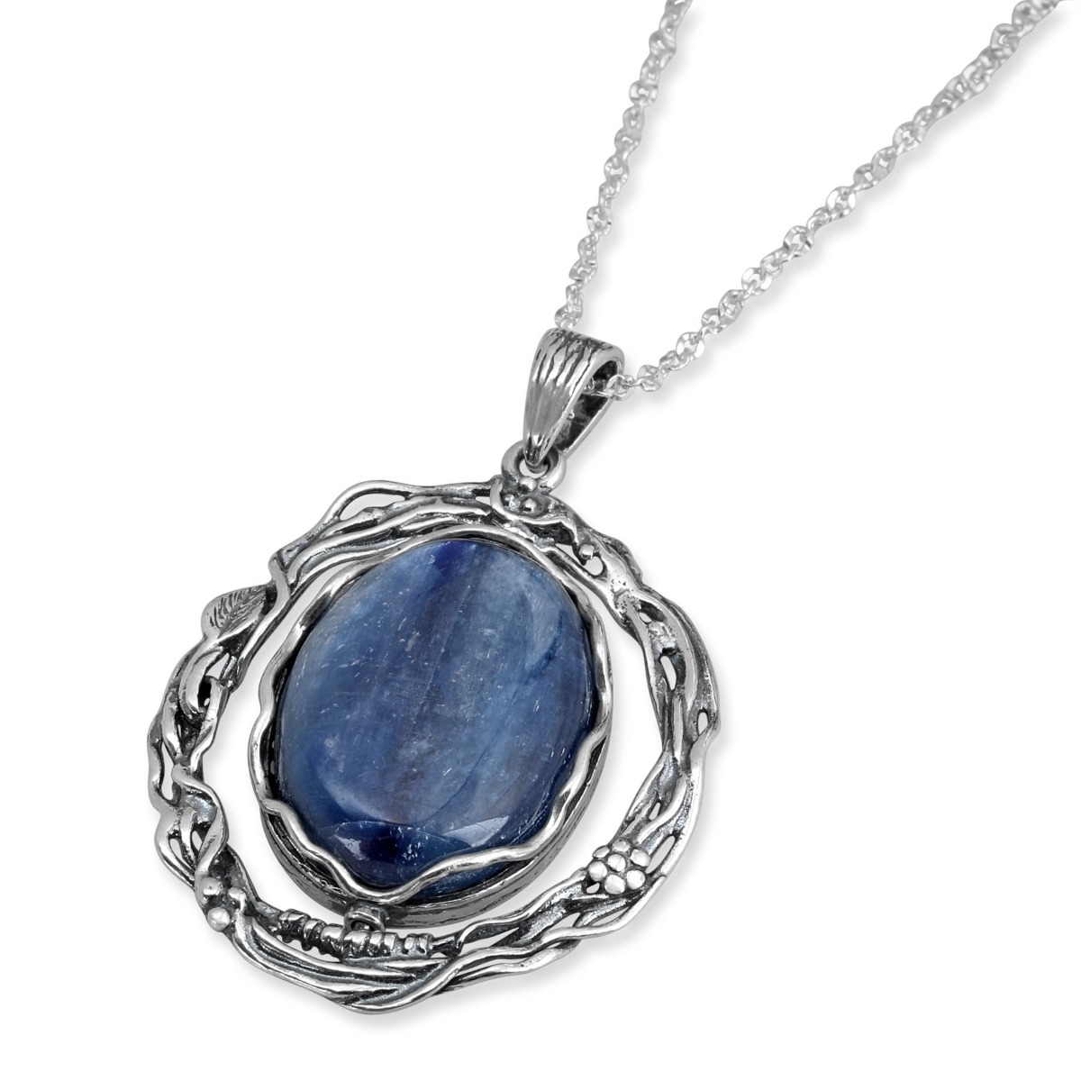 925 Sterling Silver Peace Hamsa Necklace with Kyanite Stone. Jewish Jewelry | Judaica WebStore