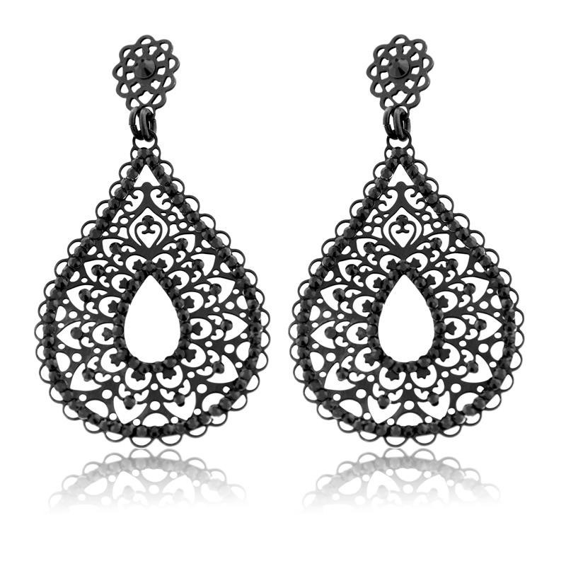 LK Designs: Black Jeweled Filigree Tear Drop Earrings
