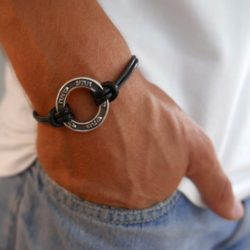 Galis Jewelry Silver Plated Kabbalah Blessings Men' Ring