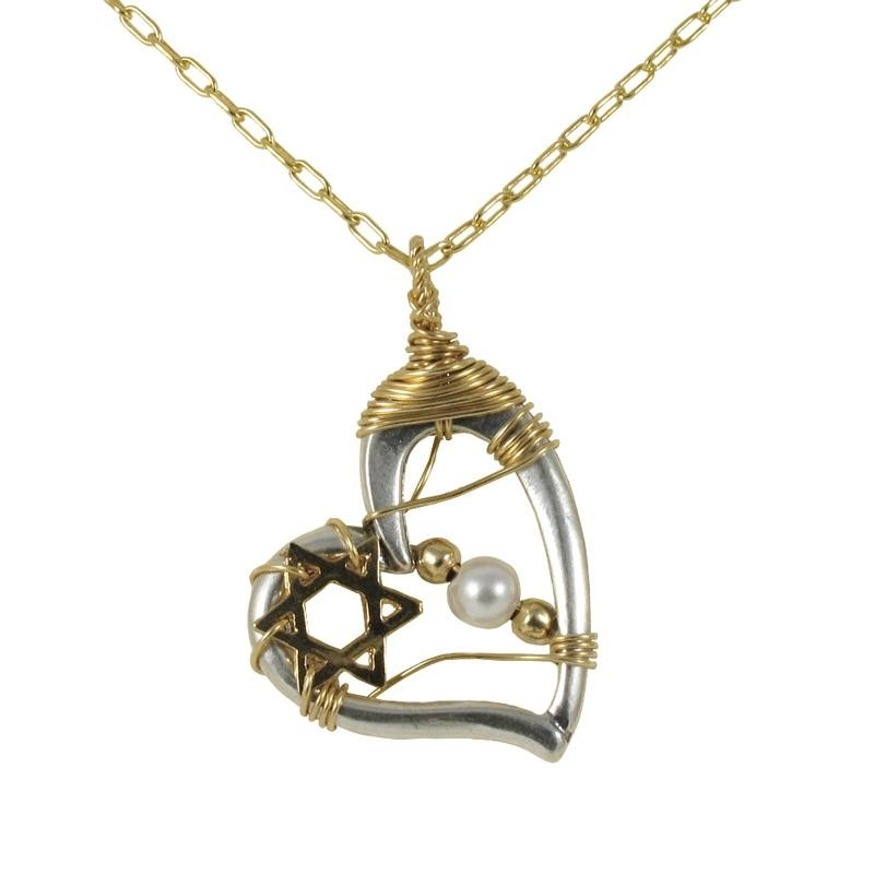 Silver And Gold Filled Heart And Star Of David Necklace