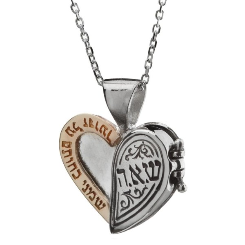 Haari Jewelry Silver And Gold Kabbalah Heart Necklace