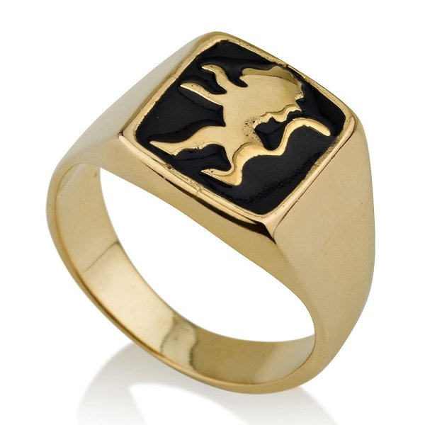 14k Gold And Onyx Lion Of Judah Ring Jewish Jewelry