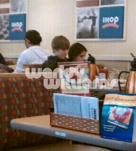 Justin Bieber and Selena Gomez at an IHOP restaurant