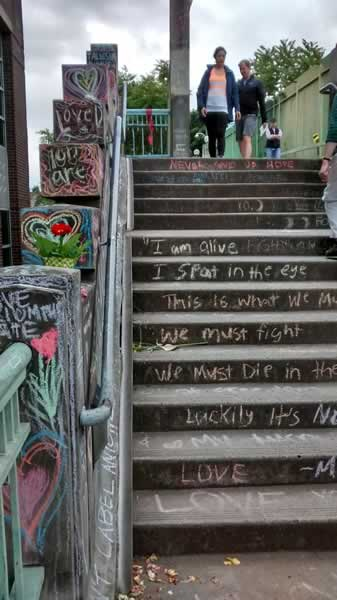 Message in chalk on the stairs at Hollywood MAX memorial