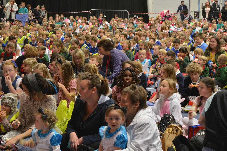 Excited crowds gathering at Venue Cymru Area