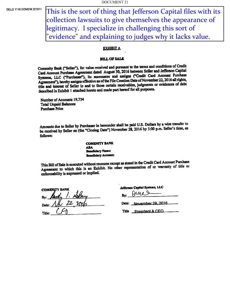 Crump Auto Sales >> Jefferson Capital Bill of Sale - Judson E. Crump, PC