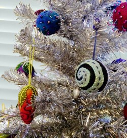 felted ornament silver tree