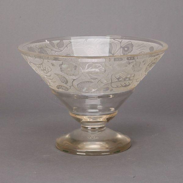 Large Art Deco Etched Glass Pedestal Bowl - Item 6091
