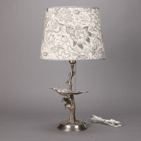 Silver Plate Table Lamp with Bird in Tree - Item:5714