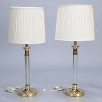 Pair Tall Mid Century Lucite and Brass Table Lamps - Item:5728