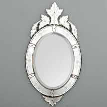 Oval Venetian Mirror With Exuberant Crown Crest - Item 5387