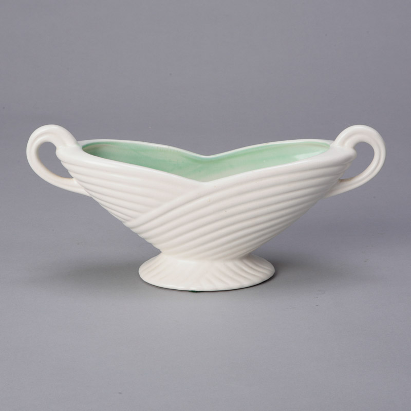 Arthur Wood Two Handeled Bowl With Green Interior  Item4653