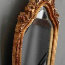 French Dark Gilt Mirror With Foliate Crown - Item 6819