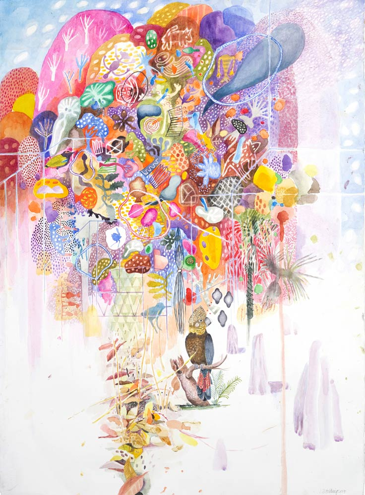 Chicken Hawk Dreaming, 57 x 152cm, watercolor on paper, 2017