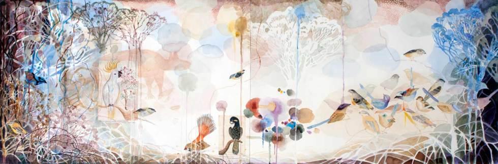 Bird Landscape, Watercolour, 500 x 1530mm, 2016