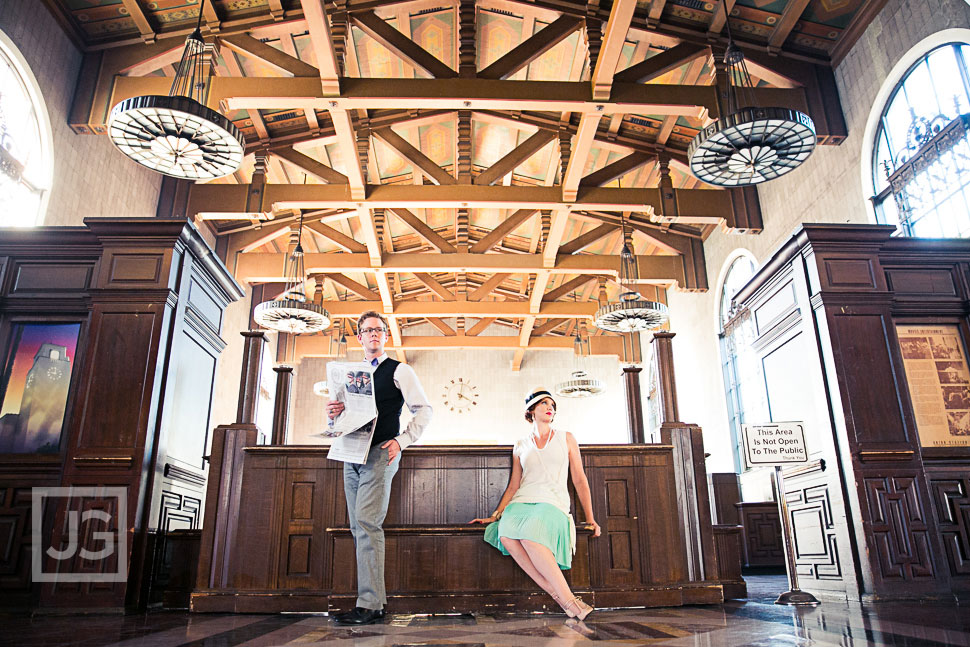 Vintage Engagement Photography Union Station in Los