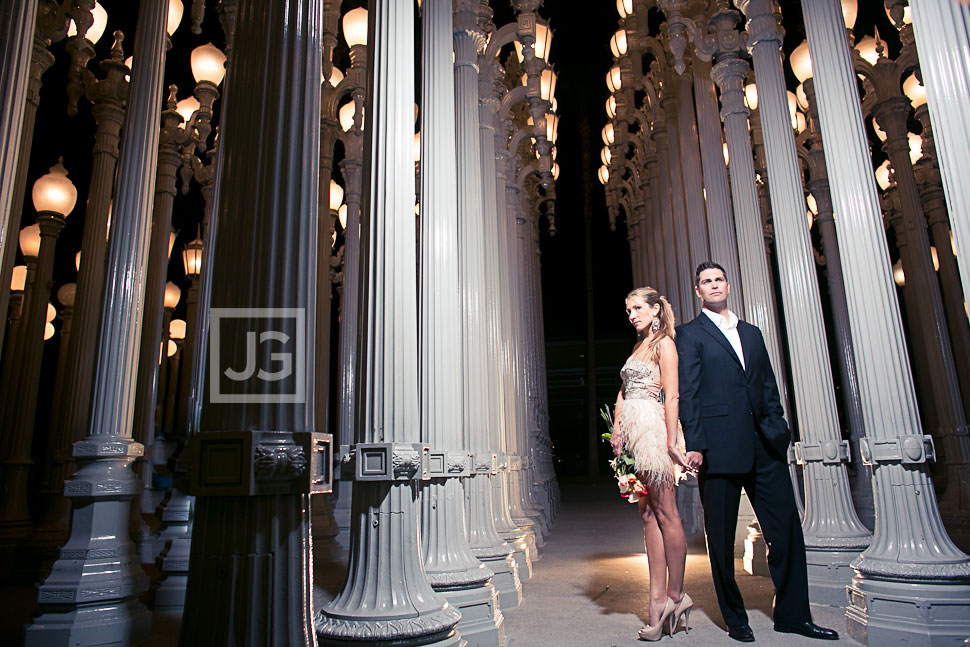 Manhattan Beach  LACMA Engagement Photography  B  W