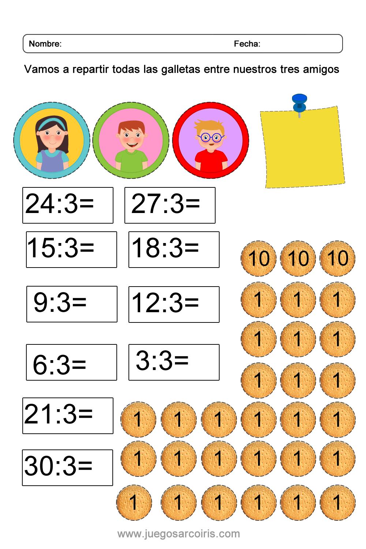 Juego educativo para aprender a dividir por 3