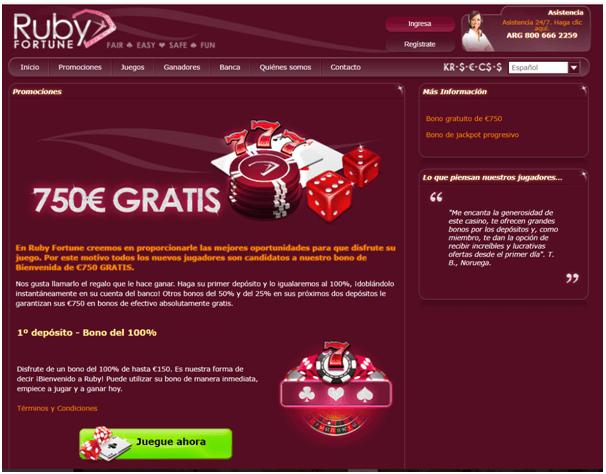 Ruby Fortune casino-promociones