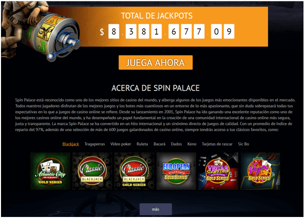 Spin palace- Total de jackpots