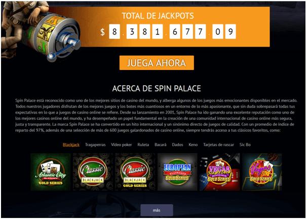 Spin palace- Total de jackpots