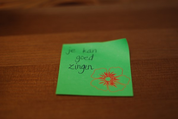 Complimenten op sticky notes