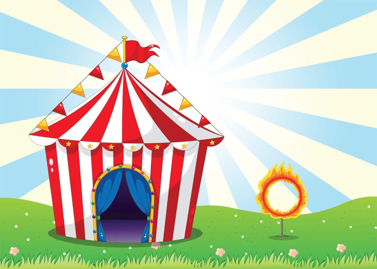 Circus tent met brandende hoepel