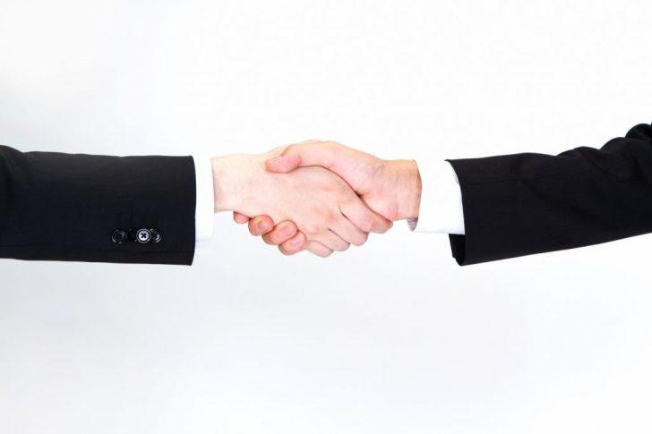 信頼関係、握手