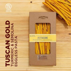 Turmeric Pasta with Semolina Tuscan Gold Eggless Donna Pastaia for Jugmug Thela