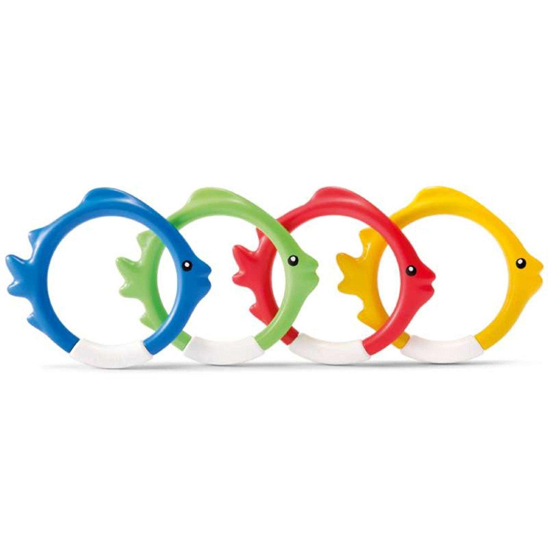 set de cuatro anillos peces multicolores para piscina