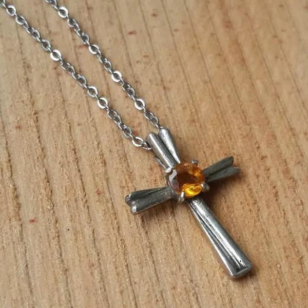 彩鑽十字架│銀飾項鍊
