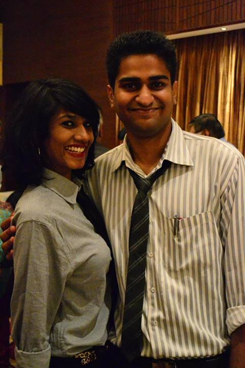 Sahil with a friend dressed Semi-formally
