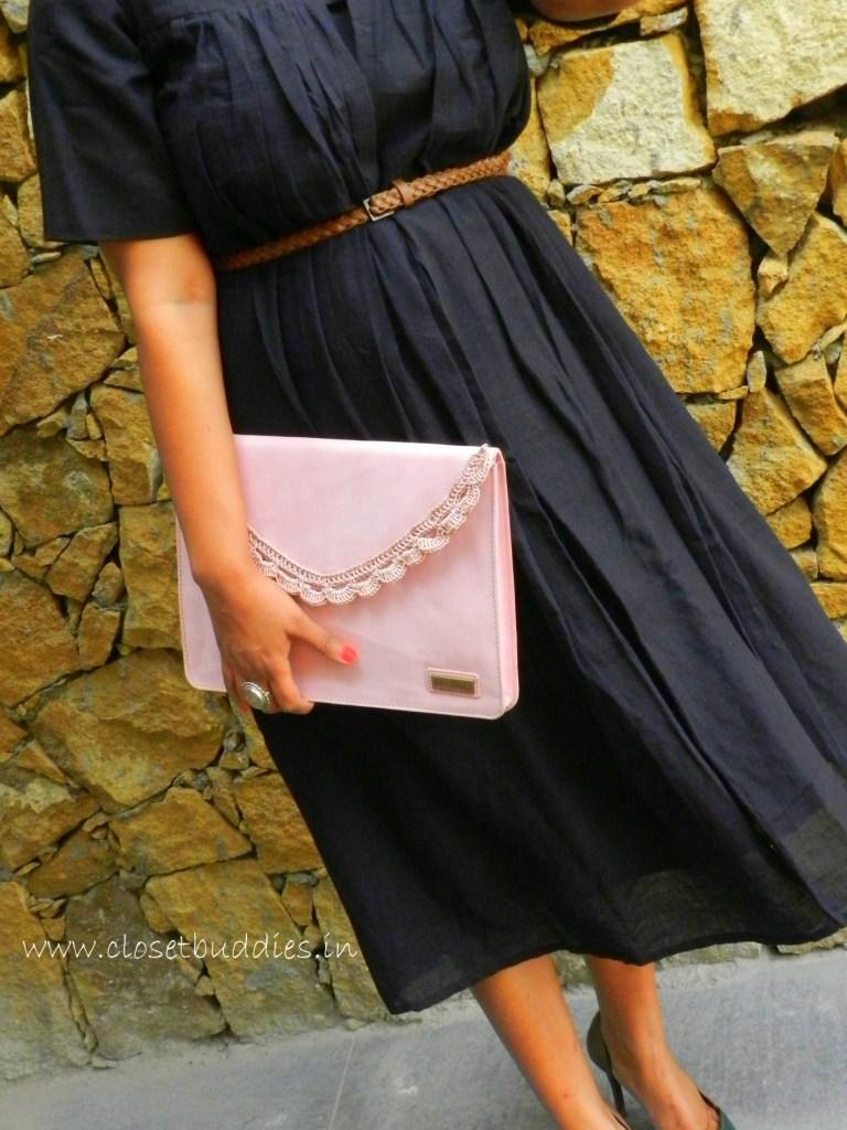 Dress: Khara Kapas Clutch: Antidote Belt: H & M Earrings and Ring: Amrapali Footwear: Charles & Keith