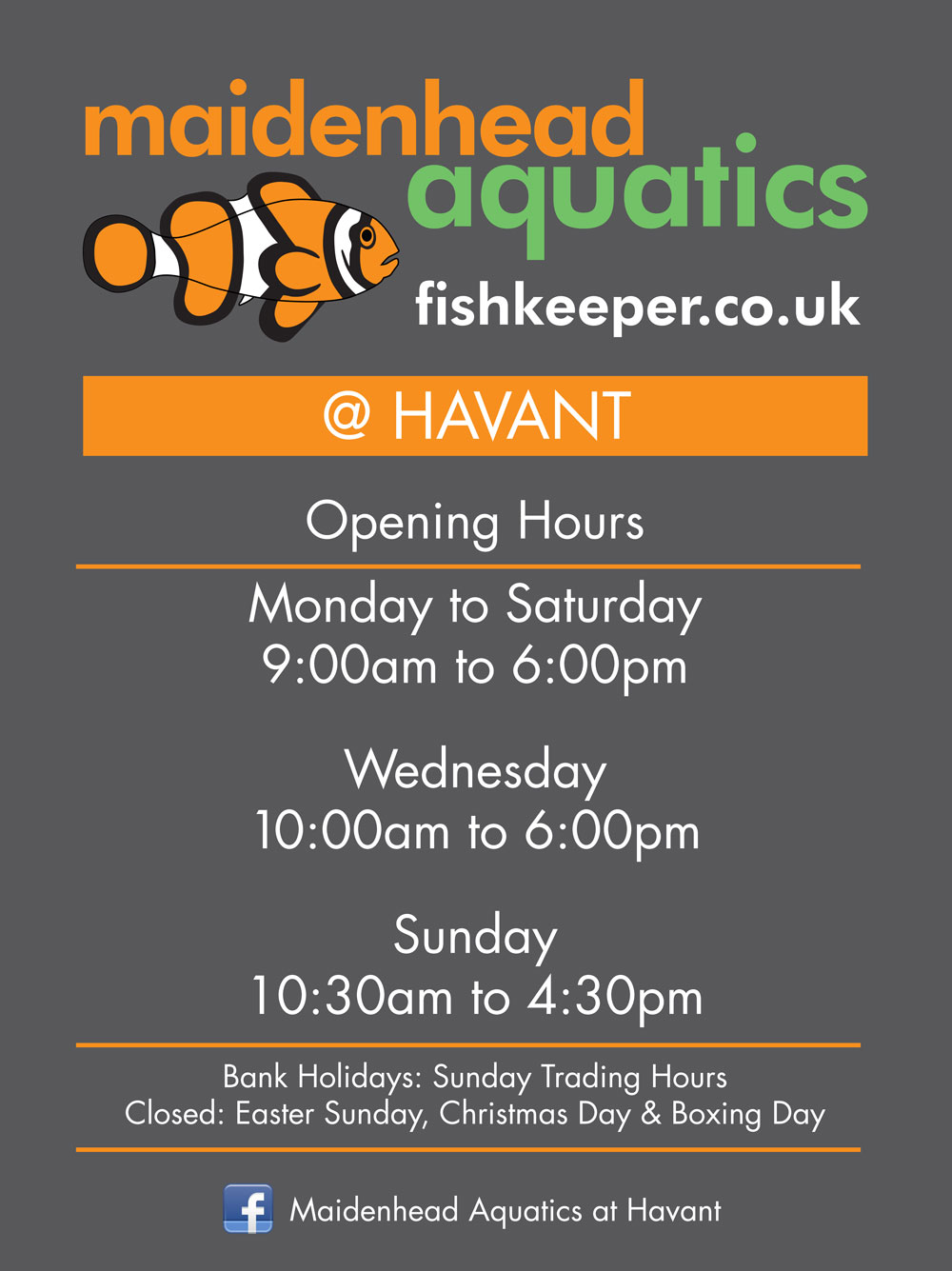 Maidenhead Aquatics Havant Opening Times