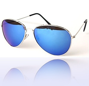 Aviator Sunglasses Blue Mirror Lenses Lens Tint Mirrored Wire Silver Frame