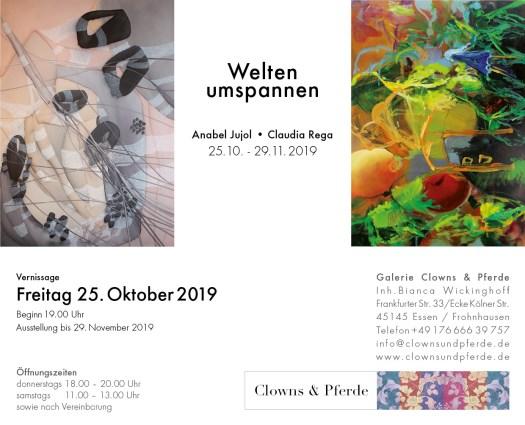 Einladungskarte zur Ausstellung - alles Angaben im Text - Bild zeigt Arbeiten beider Künstlerinnen