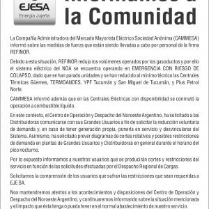 EJESA AVISO INORMA A LA COMUNIDAD Noviembre 2014
