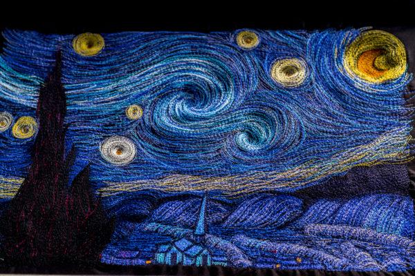 starry night thread painting TL98P