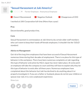 "Employee Reviews Juki America ""Sexual Harassment at Juki America"""