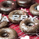 gluten free, dairy free, baked chocolate donuts with sugar glaze