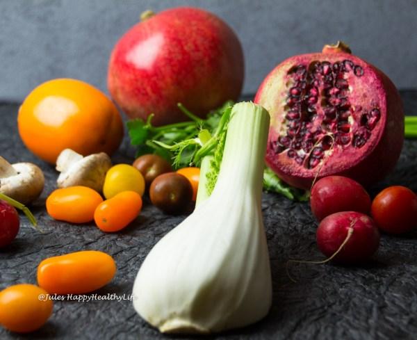 Fenchel, Kaki, Granatapfel Salat Zutaten glutenfrei, vegan