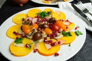 Fenchel, Kaki, Granatapfel Salad glutenfrei, vegan