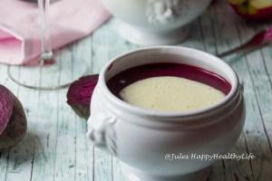 Einfache vegane Suppe für die Gesundheit - Rote Bete Suppe mit Apfel Meerrettich Schaum