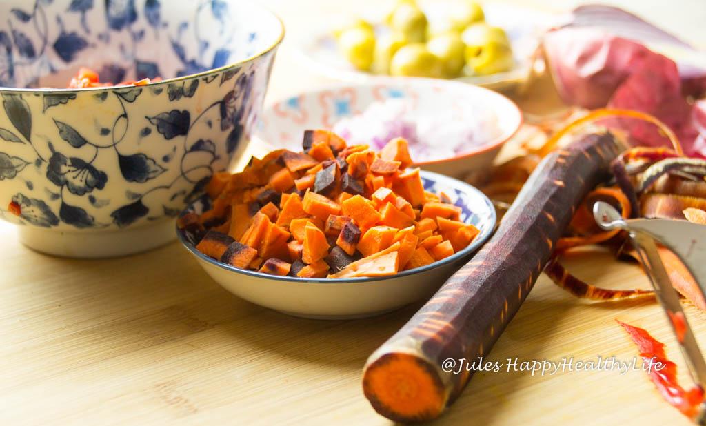 Karotten für Spaghetti Kürbis mit vegetarischer Bolognese - Jules HappyHealthyLife glutenfreier Food Blog